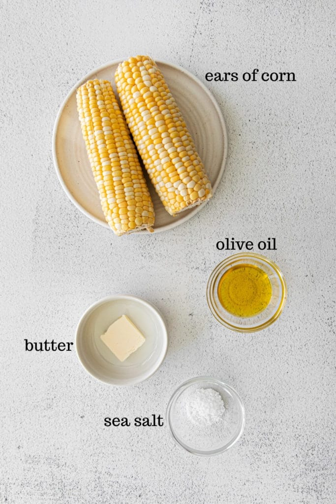 Ingredients for making air fryer corn on the cob.