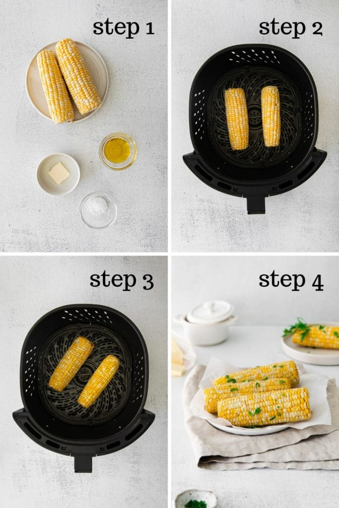 How to make corn on the cob in the air fryer in 4 easy steps.