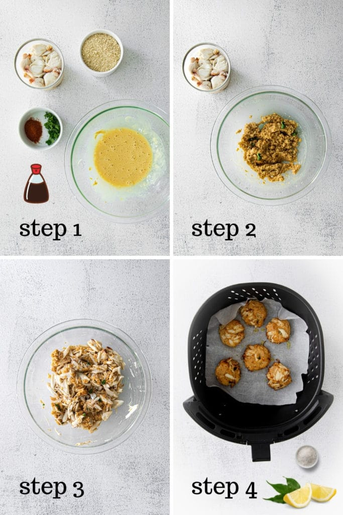 How to make air fryer crab cakes in 4 easy steps.