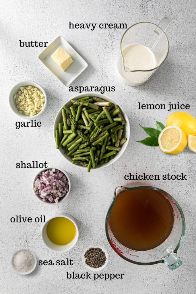 Ingredients for making cream of asparagus soup from scratch.