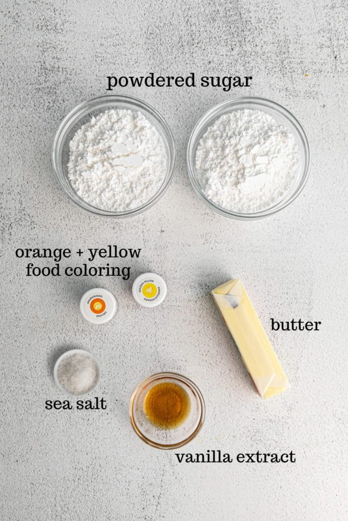 Ingredients for candy corn frosting recipe.