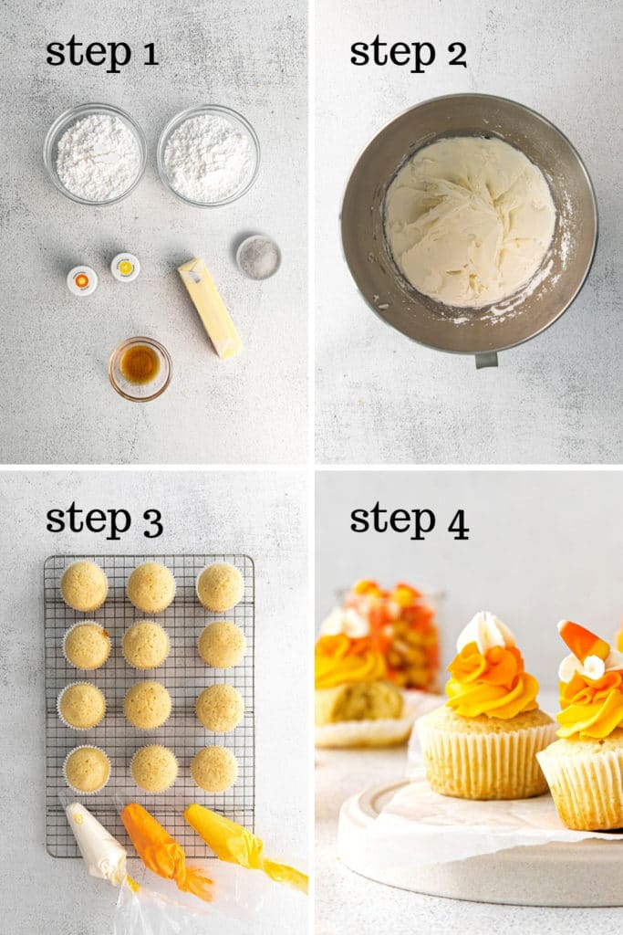 How to make candy corn buttercream frosting (and pipe it too!) in 4 easy steps.