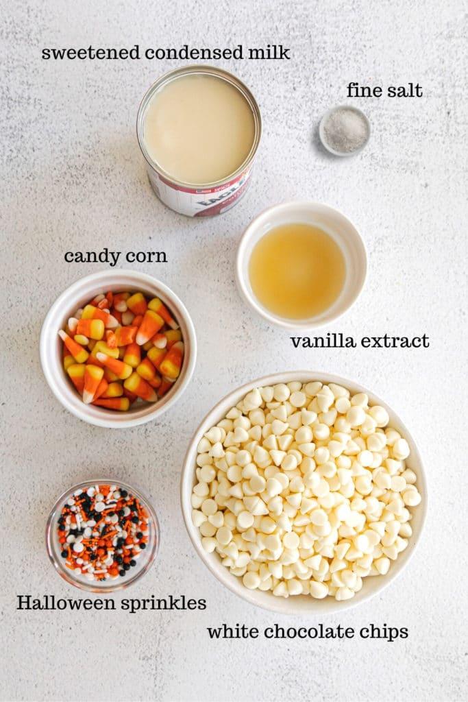 Ingredients for Halloween candy corn fudge (white chocolate fudge).