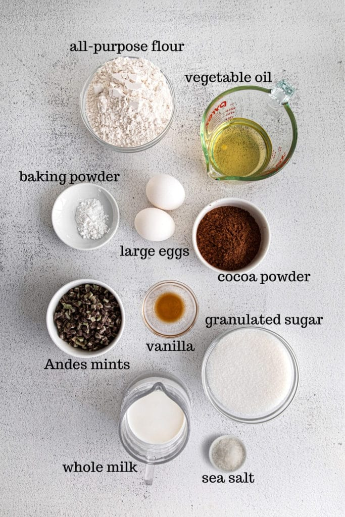 Ingredients for Andes mint chocolate cupcakes.