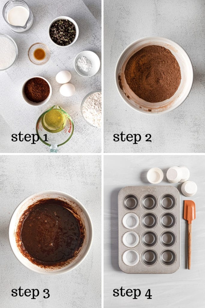 How to make mint chocolate cupcakes in 4 easy steps.