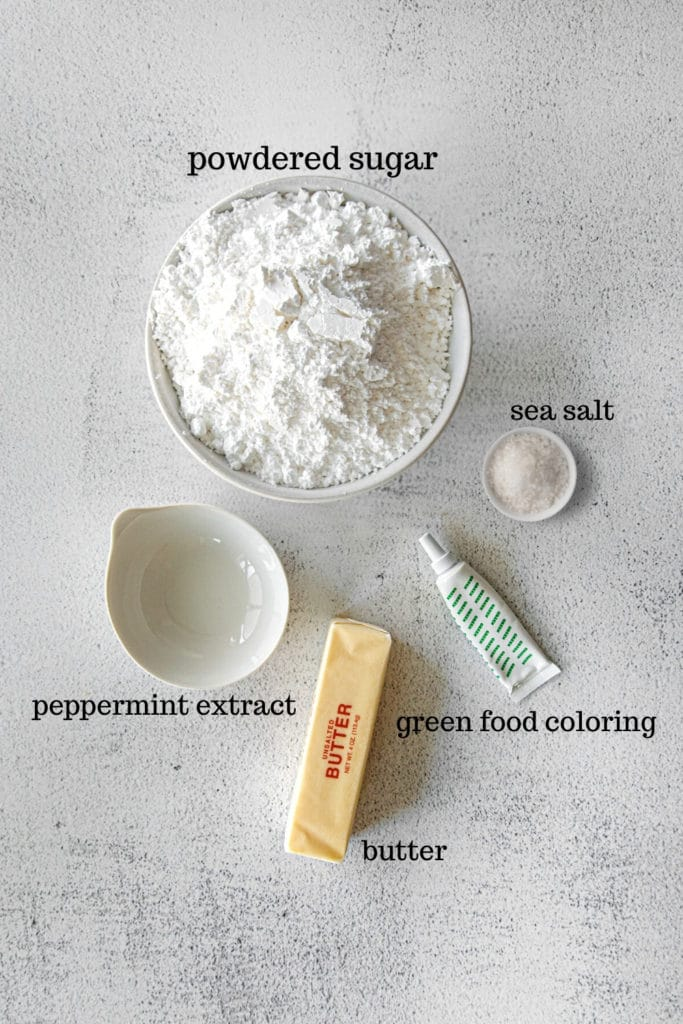 Ingredients for mint buttercream frosting.