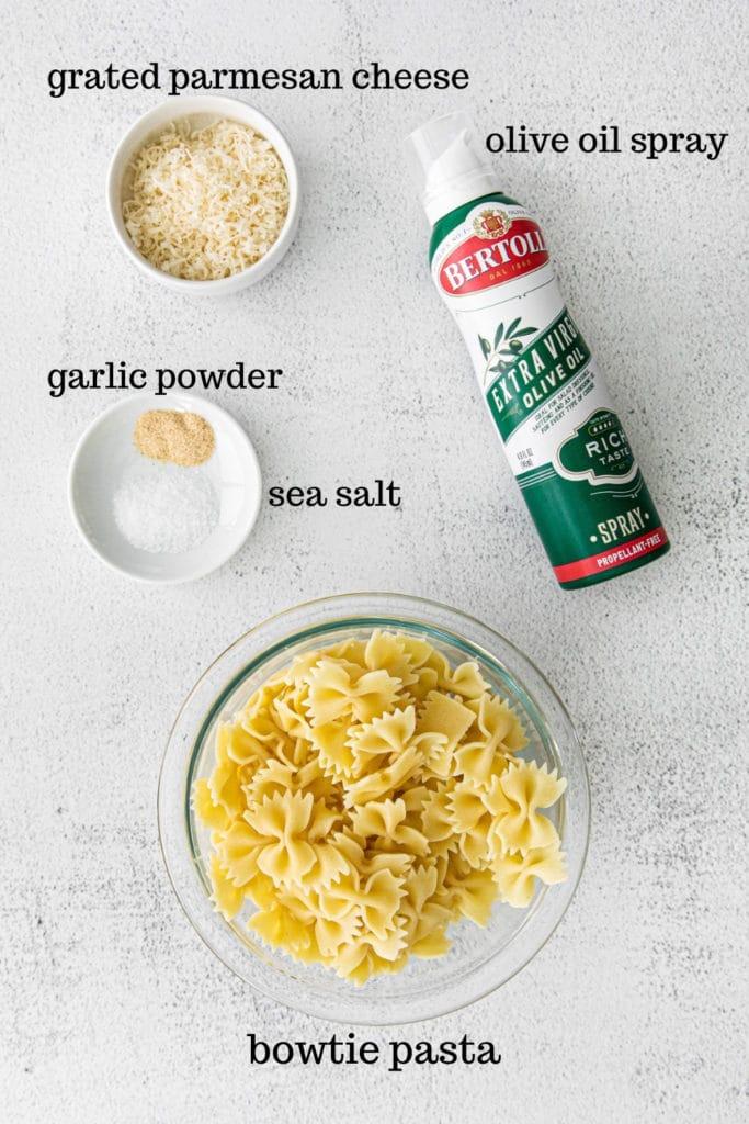 Ingredients for garlic parmesan pasta chips. The viral TikTok pasta recipe.