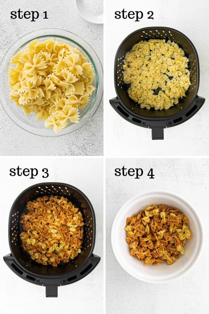 How to make pasta chips with garlic and parmesan cheese in 4 easy steps.