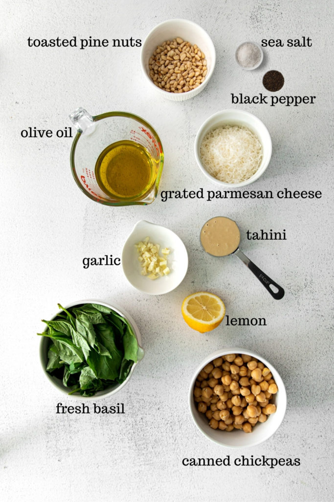 Ingredients for basil pesto hummus.