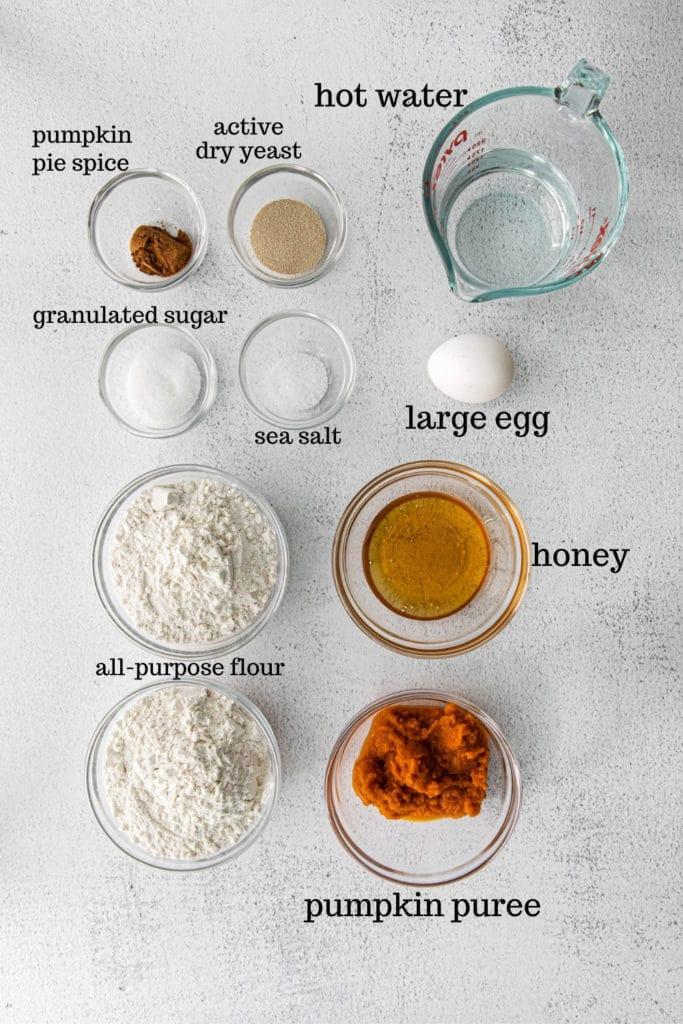Ingredients for homemade pumpkin bagels.