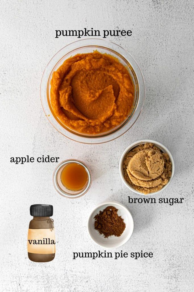 Ingredients for homemade pumpkin butter spread.