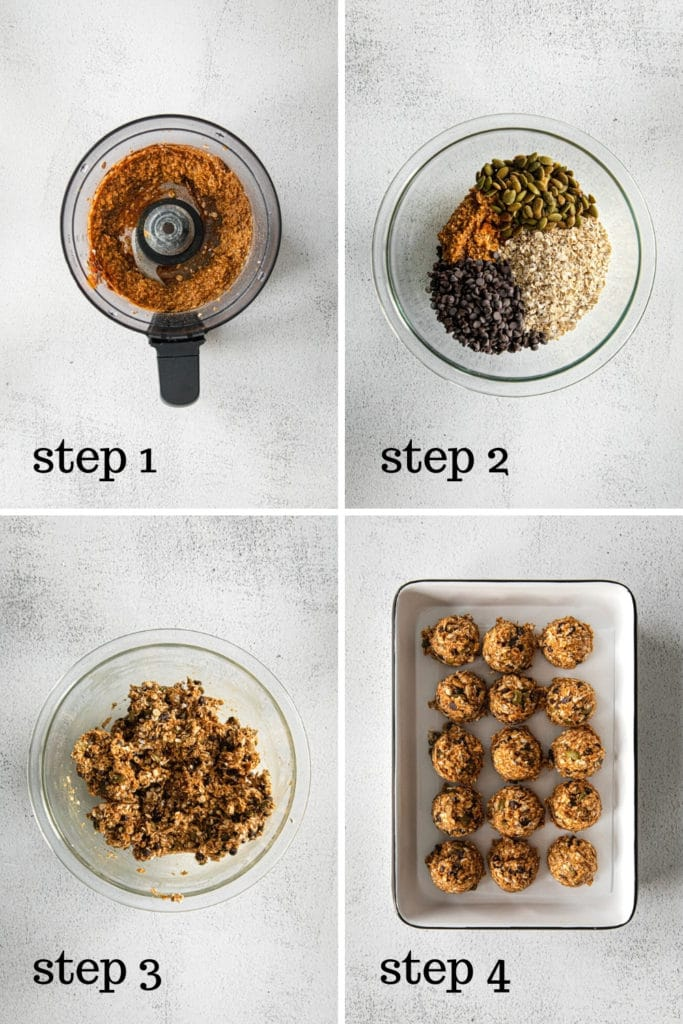 How to make no-bake energy balls in 4 easy steps.