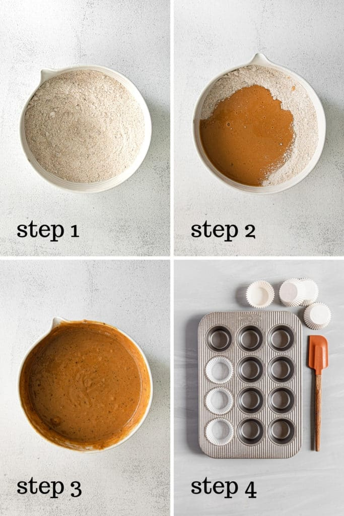 How to make pumpkin spice cupcakes in 4 easy steps.