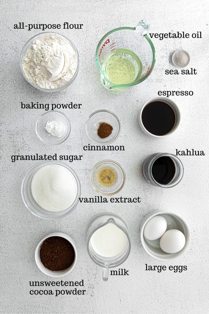 Ingredients for Tiramisu cupcake recipe.