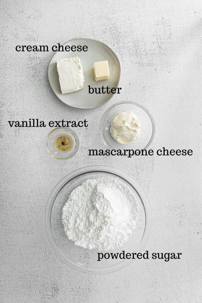 Ingredients for making mascarpone cheese frosting for tiramisu cupcakes.