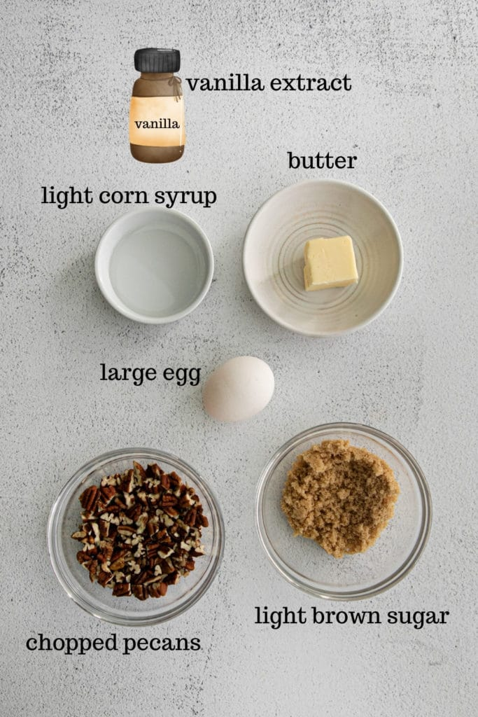 Ingredients for butter pecan topping.