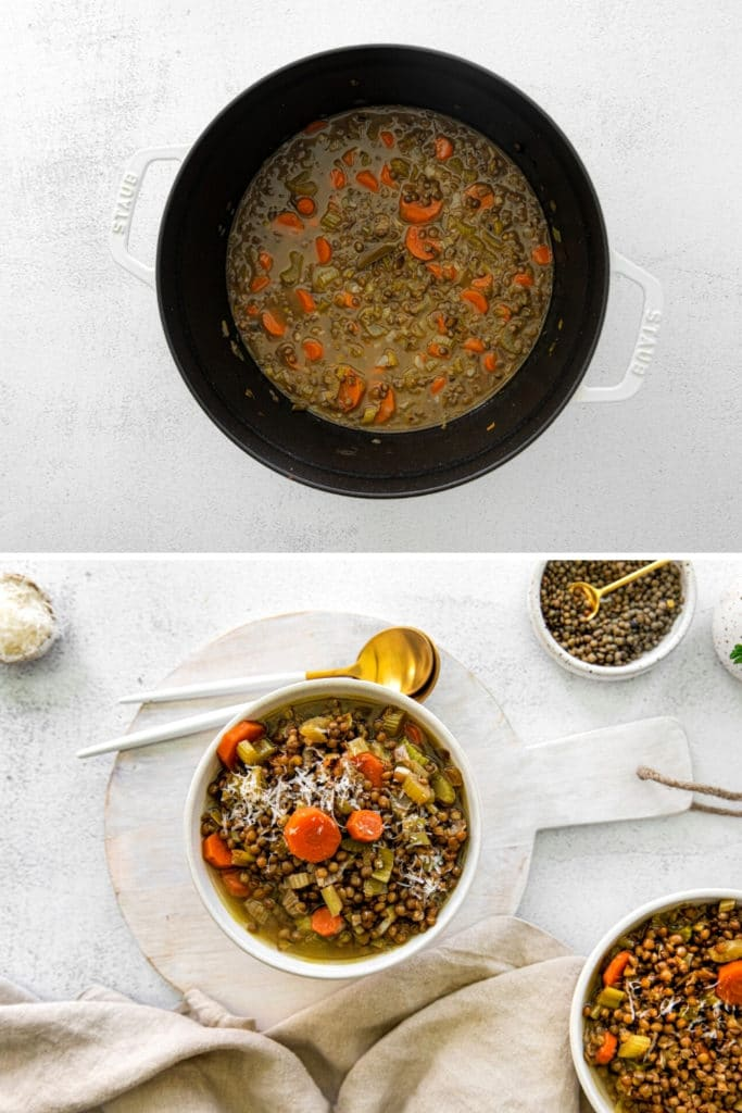 Two images showing how to make and garnish French lentil soup.