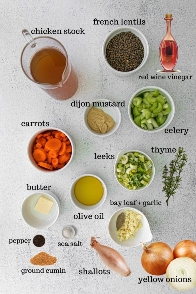 Ingredients for French lentil soup.