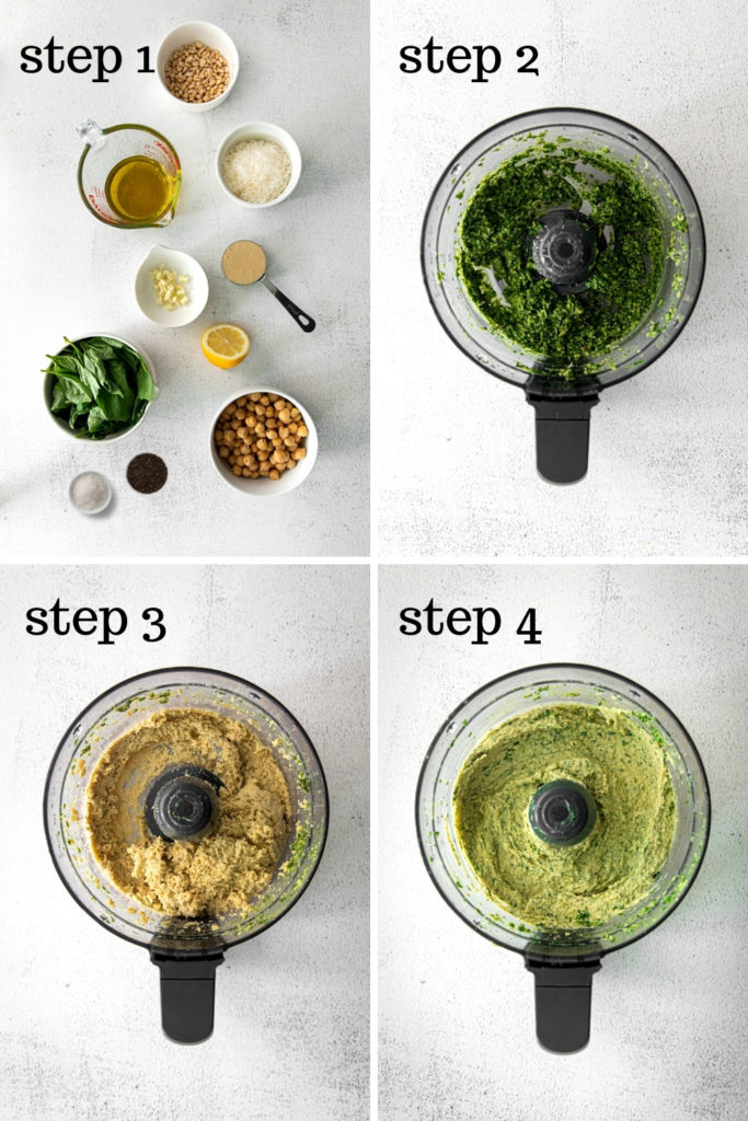 How to make Pesto Hummus in 4 easy steps.