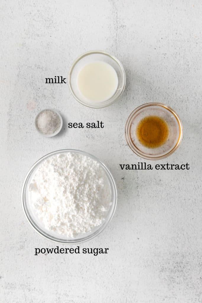 Ingredients for pop tart frosting.